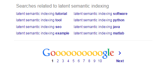 An example at the bottom of Google search of latent semantic indexing results.