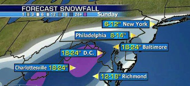 Washington snowstorm map by Fox News