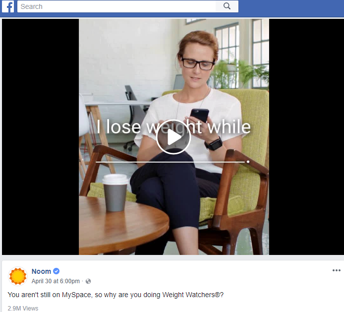 Noom ad campaign on Facebook making fun of Weight Watchers