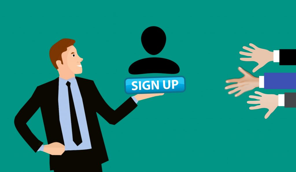Sign up cartoon image